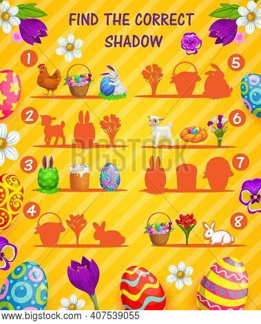 Find Correct Shadow Vector Kids Game Or Puzzle With Cartoon Easter Eggs. Memory Game Of Children Edu