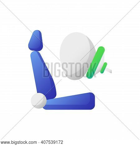 Airbag Vector Flat Color Icon. Accident Protection, Safety Precaution. Life Insurance, Injury Preven