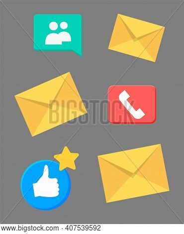 Contact Information Icons For Business Card And Website. Web, Blog And Social Media Colorful Signs.