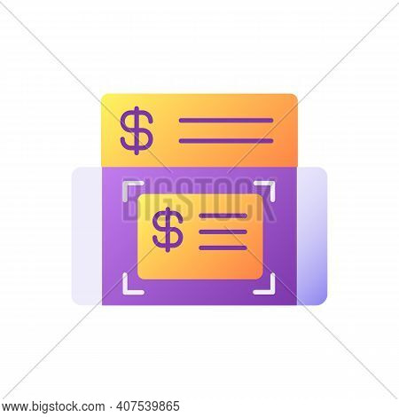 Mobile Deposits Vector Flat Color Icon. Mobile Banking Service. Online Check. Getting Loan. Money Di