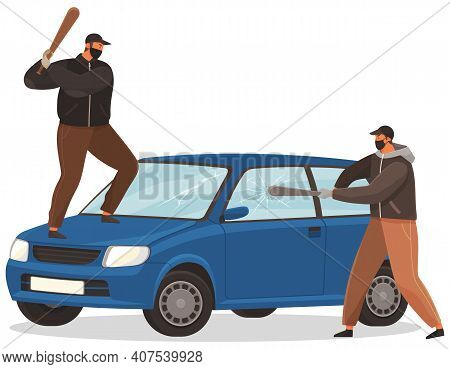 Two Young Vandals Destroy The Car. Bandits Characters In Masks Hit Automobile With Baseball Bats. Ba