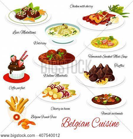 Belgian Cuisine Vector Menu Meals Liver Medallions, Chicken With Cherry, Waterzoi, Coffee Parfait, W