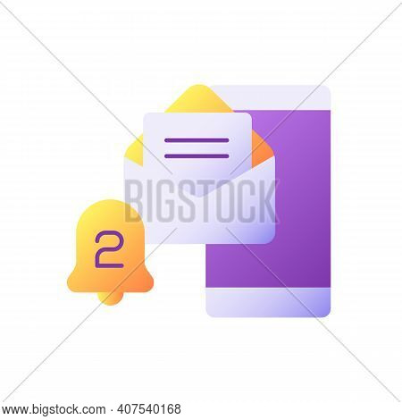 Email Alert Vector Flat Color Icon. Message On Smartphone Screen. Mobile Banking App Notification. E