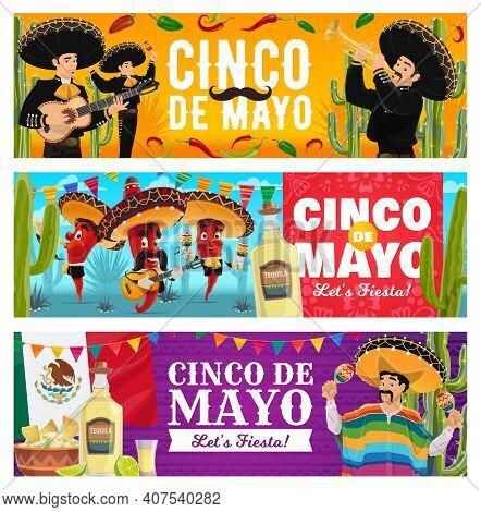 Cinco De Mayo Holiday Banners, Mexican Fiesta Celebration Party, Vector Background. Cinco De Mayo 5