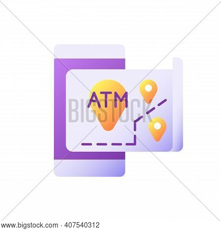 Atms Map Vector Flat Color Icon. Bank Location Online Searching. Cash Machine Navigation. Atm Near M