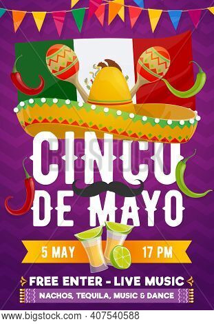 Cinco De Mayo Fiesta Party Vector Poster Of Mexican Holiday. Sombrero Hat, Maracas, Red Chilli Peppe