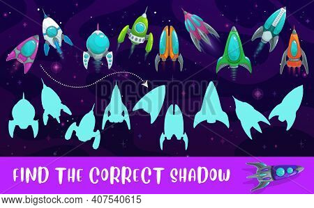 Kids Game Shadow Match With Vector Rockets, Find Correct Shadow Children Logic Activity, Preschool O