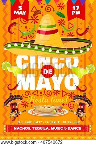 Cinco De Mayo Vector Flyer With National Mexican Symbols Sombrero Hat And Tequila In Glass Shot With