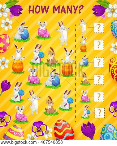 Counting Kids Game Of How Many Easter Eggs And Bunnies Vector Template. I Spy Puzzle Or Children Edu