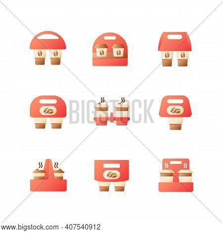 Coffee Menu To Go Vector Flat Color Icon Set. Americano Take Away Package. Drinks In Packs For Take