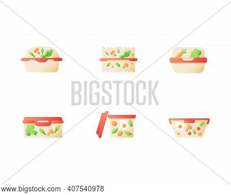 Healthy Ready Meal For Take Out Vector Flat Color Icon Set. Cafe Dinner For Take Away. Vegetarian Fo