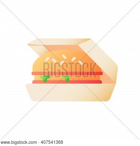 Burger Take Out Vector Flat Color Icon. Cheeseburger On Carton Box For Take Away. Unhealthy Snack. F