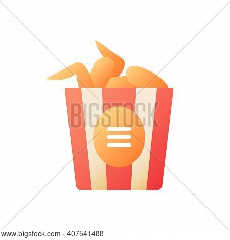 Chicken Wings Bucket Vector Flat Color Icon. Junk Food Take Out. Take Away Order. Buffalo Bbq Wings