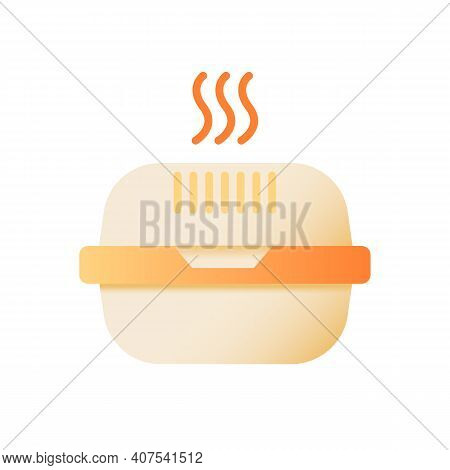 Hot Meal Takeout Vector Flat Color Icon. Burger Take Away. Cardboard Box For Fast Food Delivery. Che