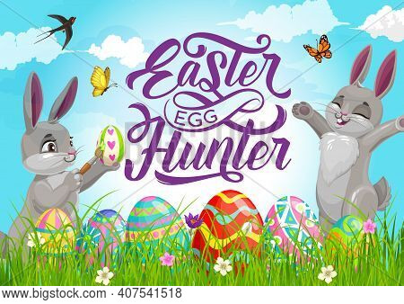 Happy Easter Holiday Egg Hunt Poster With Cartoon Vector Bunnies Painting Eggs And Playing On Field