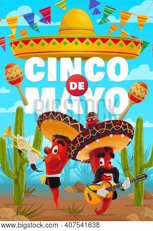 Cinco De Mayo Vector Poster. Cartoon Red Hot Jalapenos Characters Play Music For Cinco De Mayo Celeb