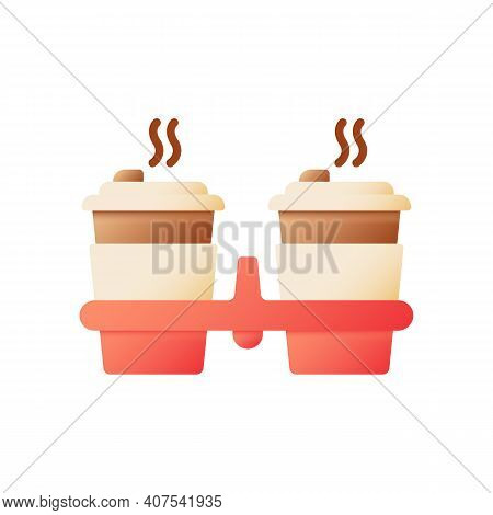 Hot Coffee To Go Vector Flat Color Icon. Tea In Carton Package For Take Away. Americano For Take Out