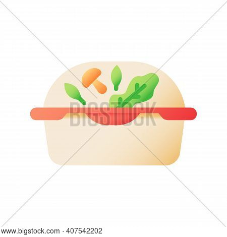 Healthy Meal Takeout Vector Flat Color Icon. Catering Service. Food Delivery. Vegetarian Dinner For