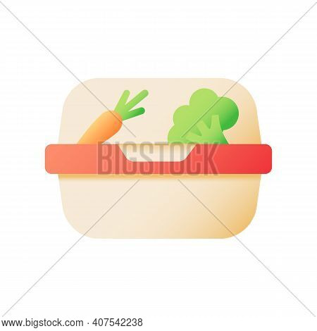 Vegan Meal Takeout Vector Flat Color Icon. Diet Option, Takeaway Order. Healthy Food For Take Out. C