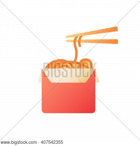 Asian Food Takeout Vector Flat Color Icon. Box With Noodles. Chinese Cuisine. Japanese Cafe. Korean