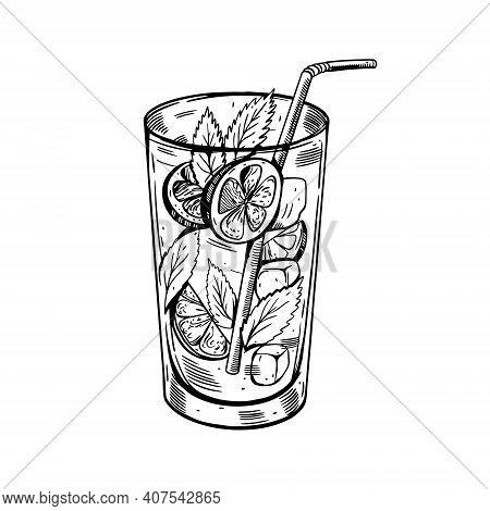Hand Drawn Black Color Mojito Cocktail. Realistic Retro Style Vector Illustration.