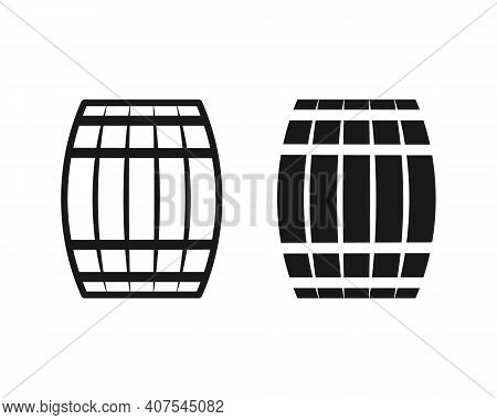 Wooden Barrel Vector Icon. Beer And Wine Wood Keg Container Symbol. Whiskey And Rum Brewery Sign. Si