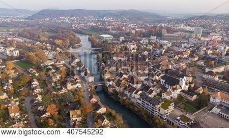 Drone View Of Cityscape Brugg North-east With Aare River, Residential And Commercial Districts, Hist