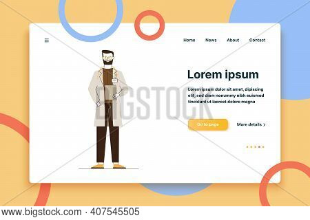 Male Physician In White Coat. Doctor With Stethoscope Holding Medical History Flat Vector Illustrati