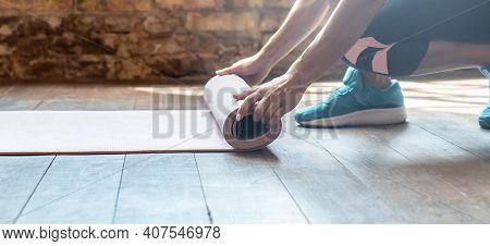 Closeup Hand Active Sporty Woman Rolling Unrolling Fold Back Beige Sport Foam Rubber Mat Keep Fit Do