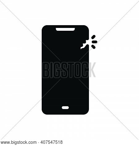 Black Solid Icon For Slight Little Damage Phone Screen Broken