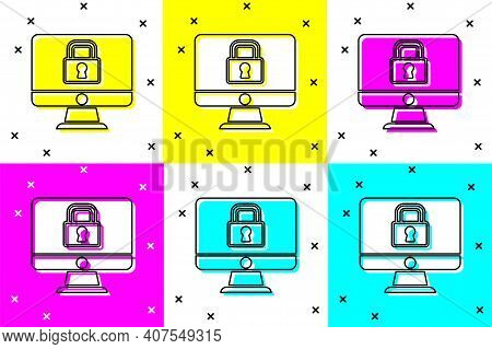 Set Lock On Computer Monitor Screen Icon Isolated On Color Background. Security, Safety, Protection