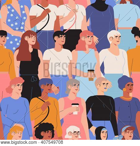 International Womens Day Concept With Diverse Multiethnic Multicultural Female Characters Stand Toge