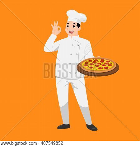 Happy Chef Cartoon Portrait Of Young Big Guy Cook Wearing Hat And Chef Uniform Hold Plate Of Delicio