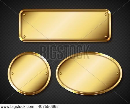 Gold Or Brass Plates, Golden Name Plaques Empty Mockup. Metal Identification Tags Or Badges, Round,
