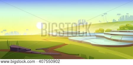 Asian Rice Field Terraces In Mountains Landscape. Paddy Plantation, Cascades Farm In Mount Of China,