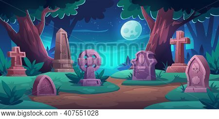 Old Cemetery With Memorial Tombstones, Graves For Dead People. Vector Cartoon Night Landscape With G