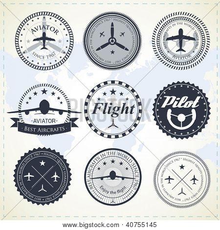 Set of vintage aviation labels