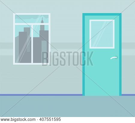 Wall With Window And Urban City Outside. Turquoise Door. Design Of Empty Cabinet Or Office. Day, Win