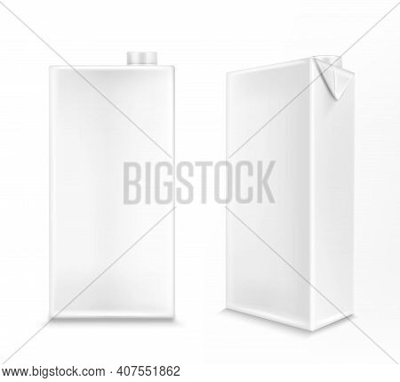 White Carton Box For Milk Or Juice In Front And Angle View. Vector Realistic 3d Mockup Of Blank Card