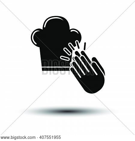 Clapping Palms To Toque Icon. Black On White Background With Shadow. Vector Illustration.