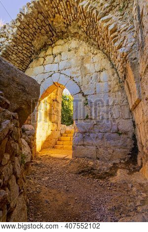 View Of The Northwest Tower Inner Gate, In The Medieval Nimrod Fortress, The Golan Heights, Northern