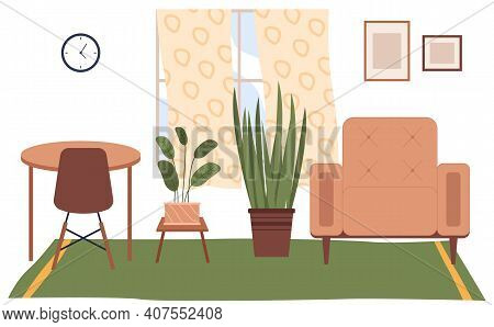 Flat Illustration Of Home Interior. Cozy Place Of The Room Near Window With Chairs And Table With A