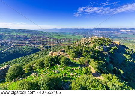 View Of The Medieval Nimrod Fortress With Nearby Landscape And Countryside, In The Golan Heights, No