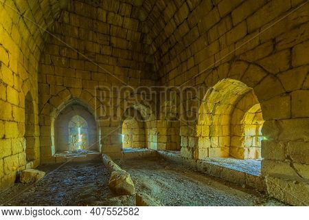 View Of The Interior Of The Prison Northern Tower, With Embrasures, In The Medieval Nimrod Fortress,