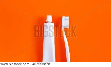 Dental Hygiene Objects: Toothbrush And Toothpaste. White Generic Accessories For Keeping Teeth Healt
