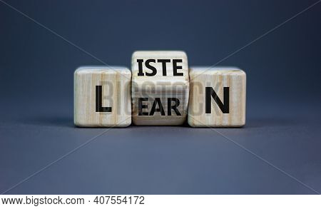Listen And Learn Symbol. Turned A Wooden Cube And Changed The Word 'listen' To 'learn'. Beautiful Gr