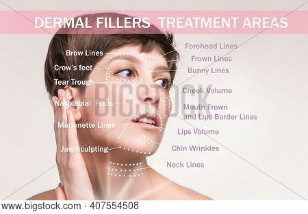 Treatment Areas For Anti-wrinkle Injection. Young Female With Clean Fresh Skin. Beautiful Woman. Fac