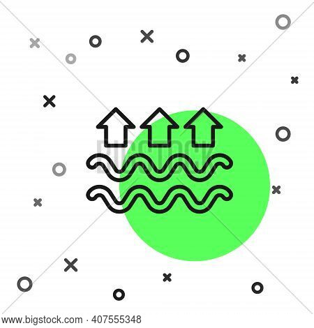 Black Line Waves Of Water And Evaporation Icon Isolated On White Background. Vector
