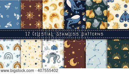 Celestial Boho Kids Seamless Pattern With Space Whale, Butterfly, Moon And Stars, Celestial Sky Digi