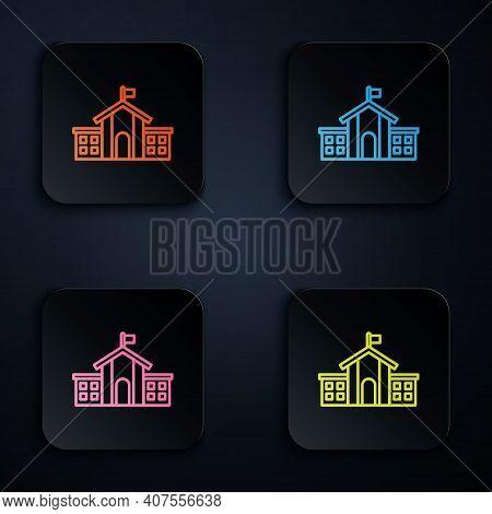 Color Neon Line United States Capitol Congress Icon Isolated On Black Background. Washington Dc, Usa